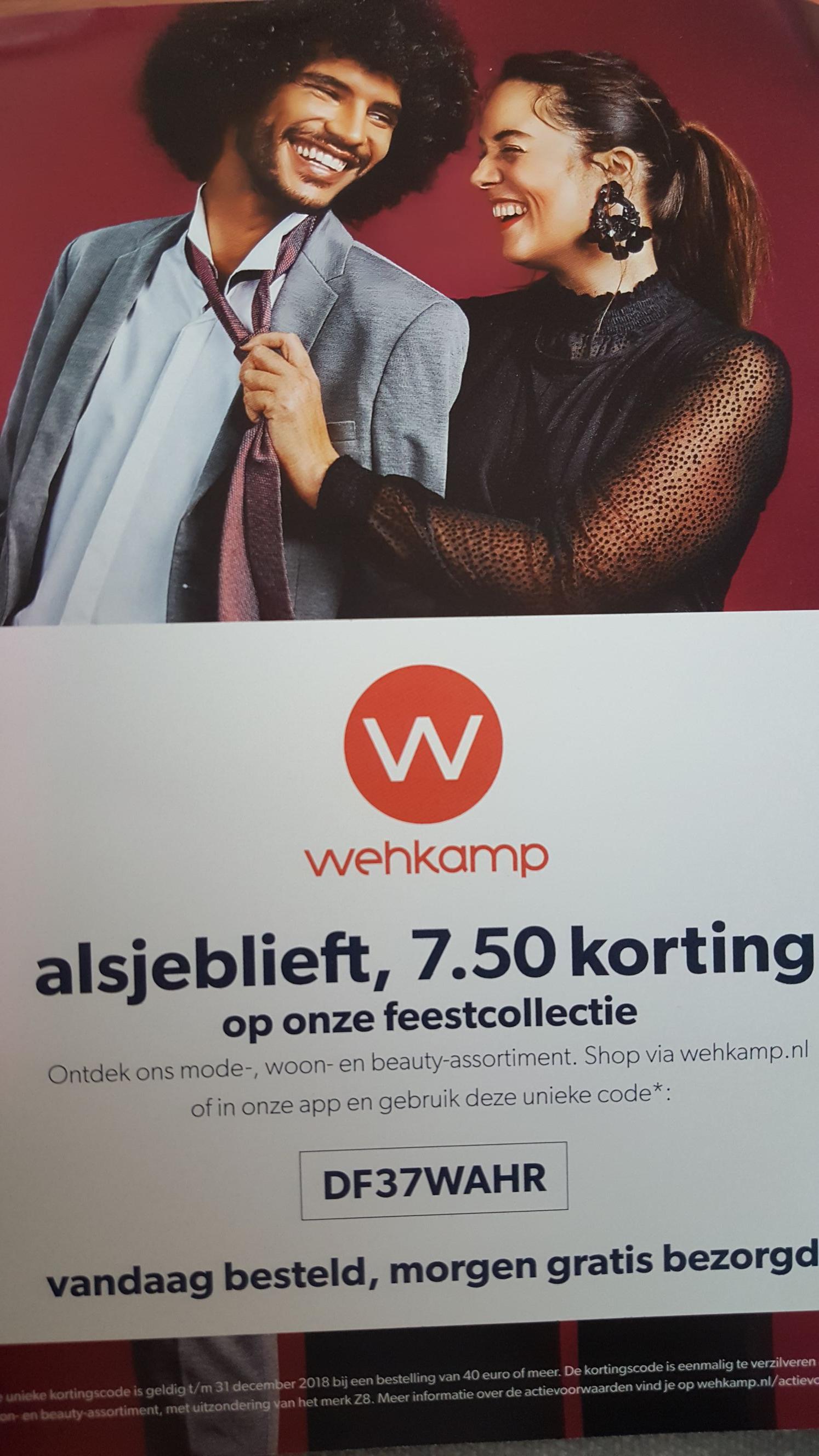 Kortingscode voor € 7,50 korting op het mode-, woon-, speelgoed, games en beauty-assortiment @ Wehkamp