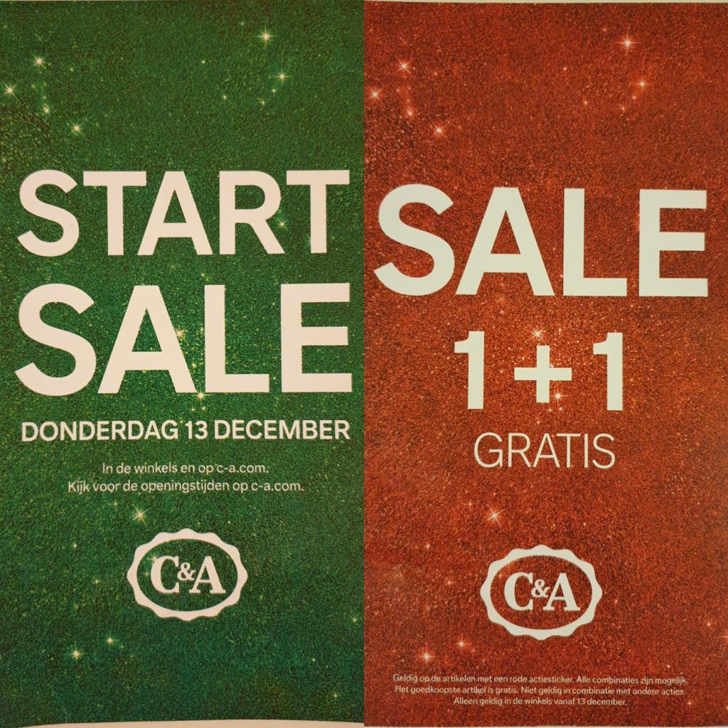 1+1 gratis op alles met 'n RODE sticker + online tot -50% + €10% extra (va €40) @ C&A