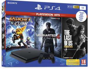 PS4 Slim 1TB + Ratchet, The Last of Us & Uncharted 4 voor €244 @ Bol