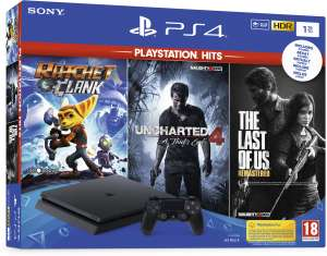 PS4 Slim 1TB + Ratchet & Clank + Uncharted A Thief's End + The Last of Us Remastered voor €239 @ Intertoys