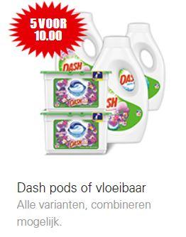 5 Flessen Dash wasmiddel of dozen pods €10 @ Dirk / Dekamarkt