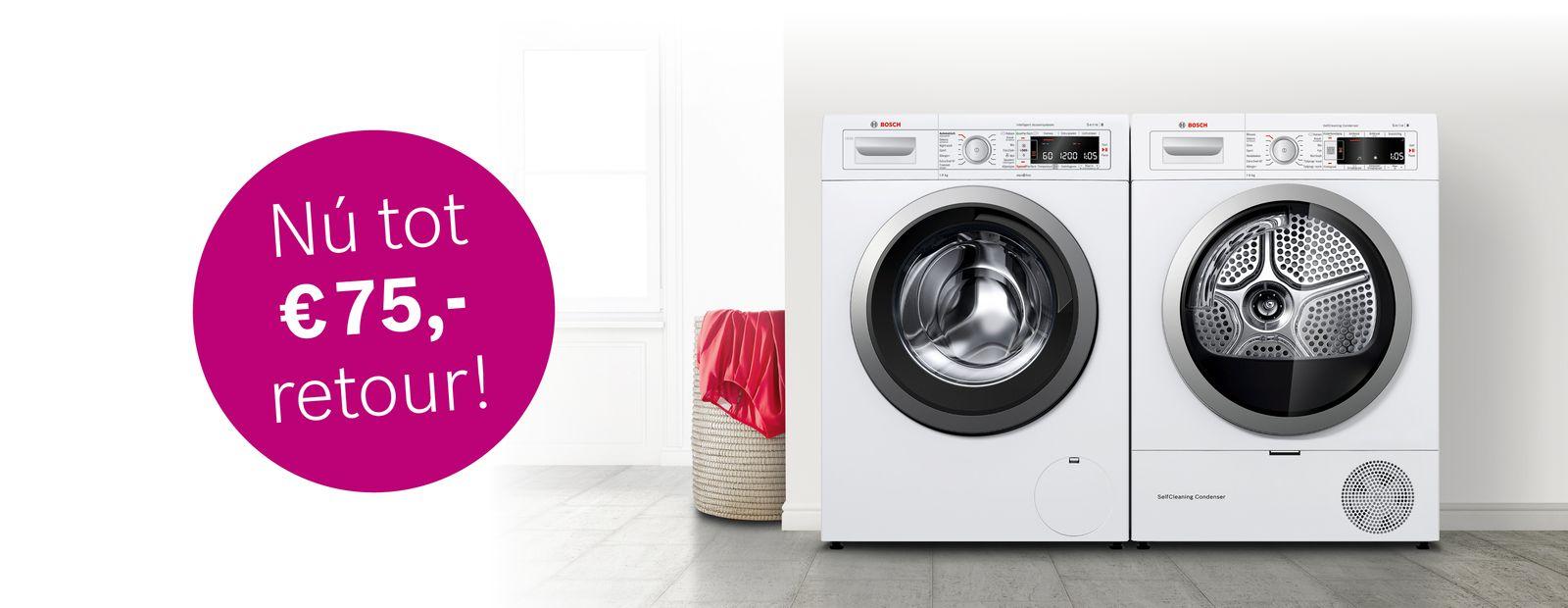 €50,- tot €75,- retour op wasmachines en wasdrogers van Bosch