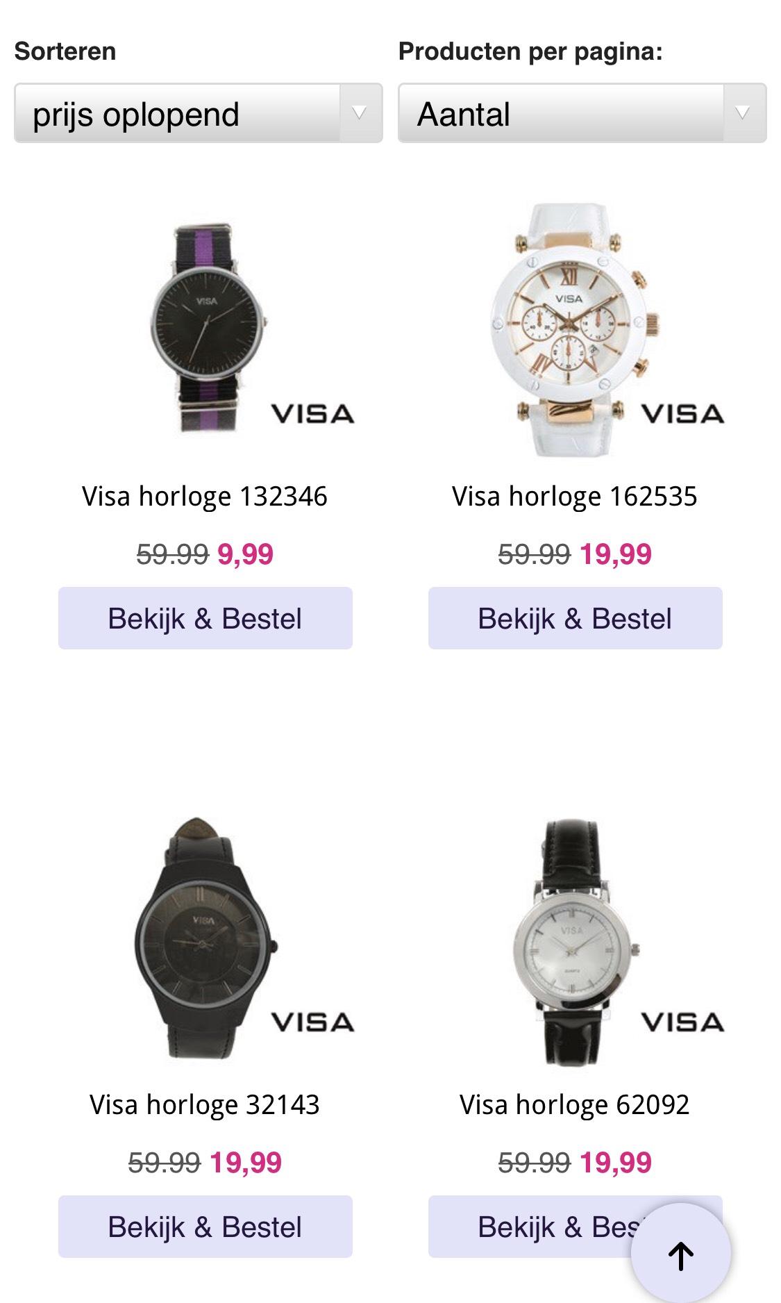 Visa horloges vanaf €9,99 @Lucardi