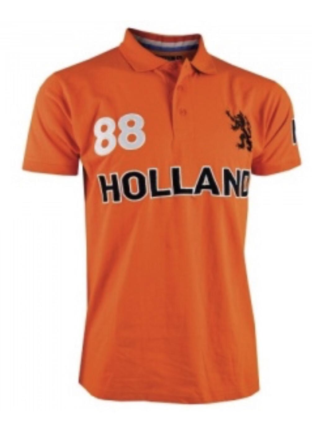 HOLLAND polo's maat S in de kleuren (oranje, zwart en blauw)