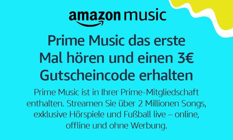 Luister voor de eerste keer naar Amazon Prime Music en ontvang een Amazon-tegoedbon van € 3
