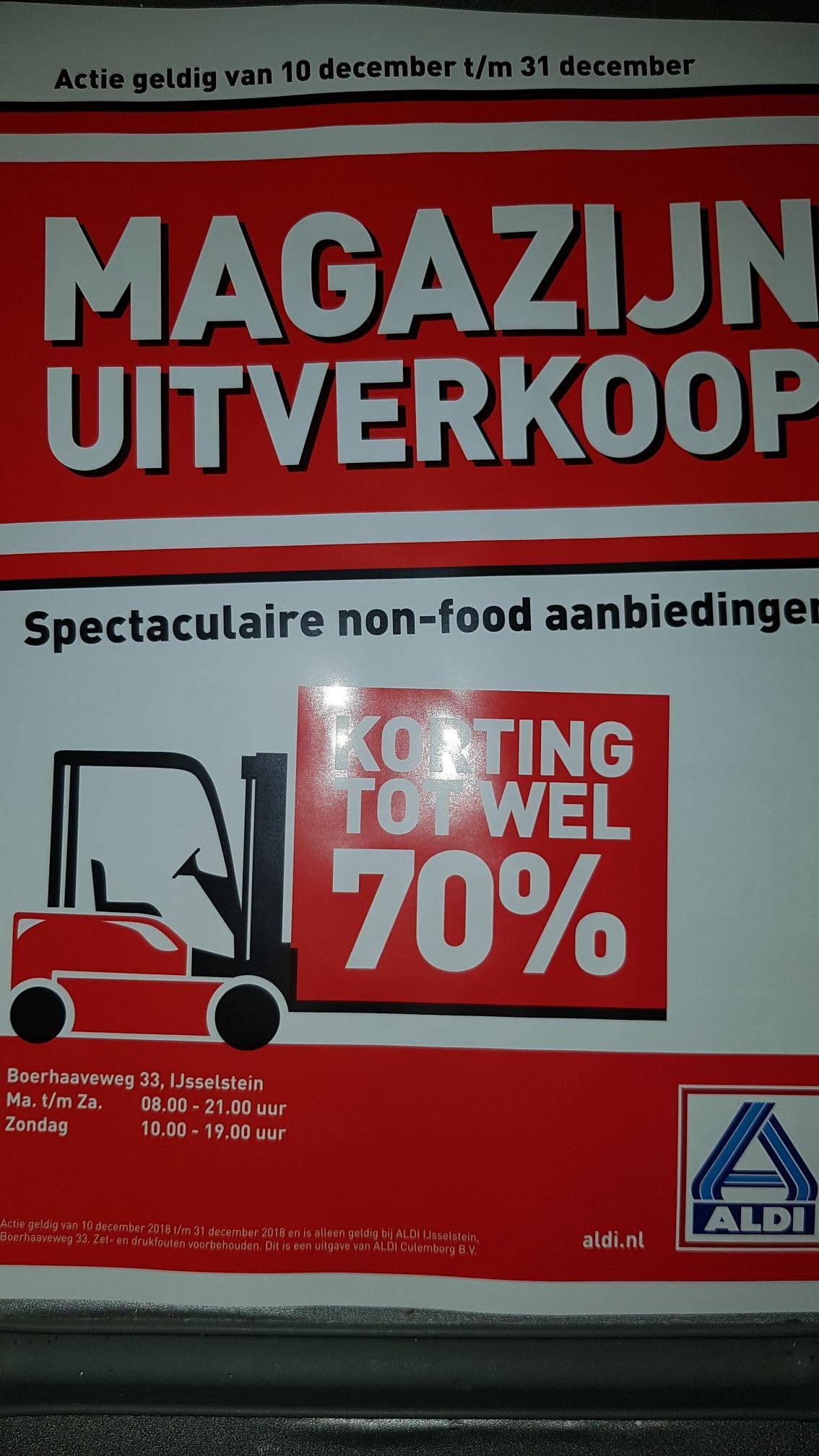 Aldi IJsselstein Magazijn Uitverkoop tot 70% (non-food)