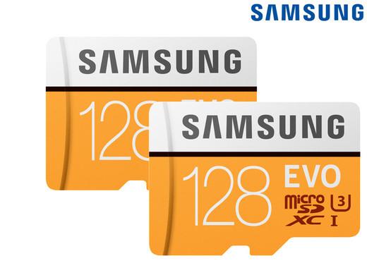 2x Samsung Evo MicroSDXC Kaart | 128 GB | Incl. Adapters (MB-MP128GA/EU)