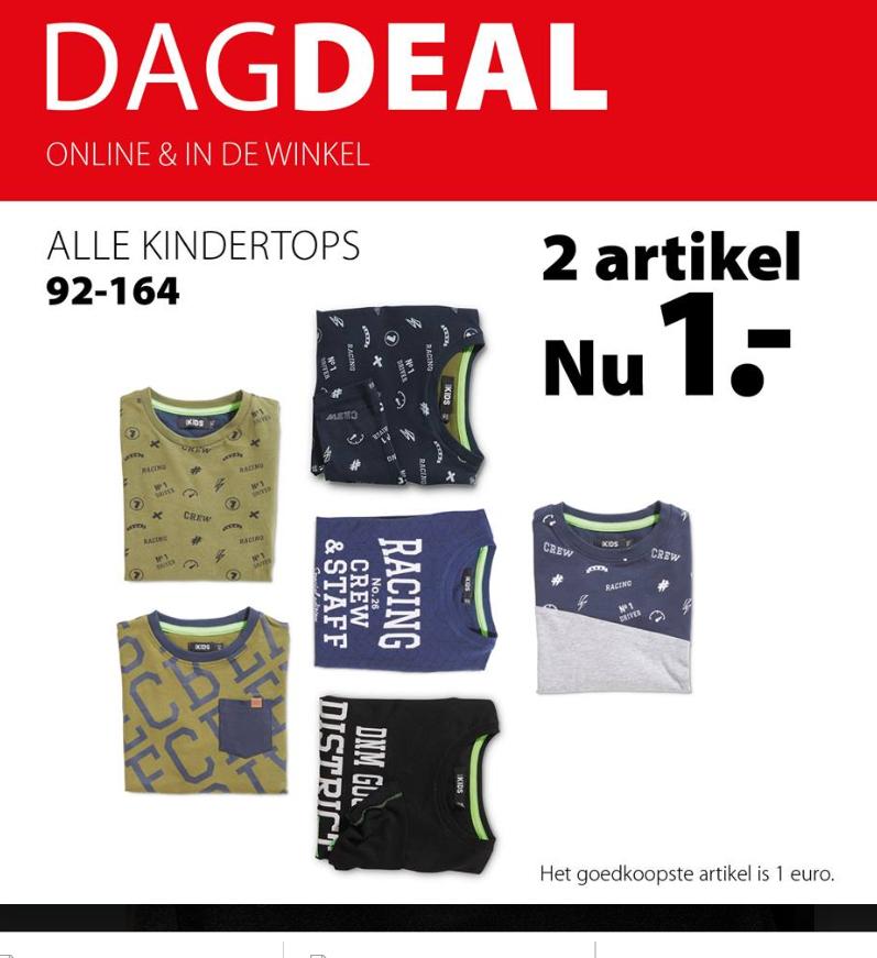 ALLEEN VANDAAG shop je alle kindertops met 2e artikel 1 euro bij Terstal :)