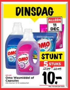 Alleen vandaag: 5x OMO wasmiddel voor €10 @ Vomar