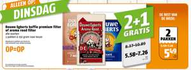 alleen vandaag 2 + 1 gratis op Douwe Egberts premium filter of aroma rood filter koffie