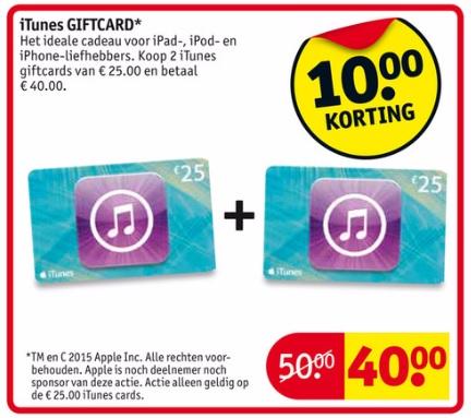 2 x iTunes giftcard van E 25 voor E 40