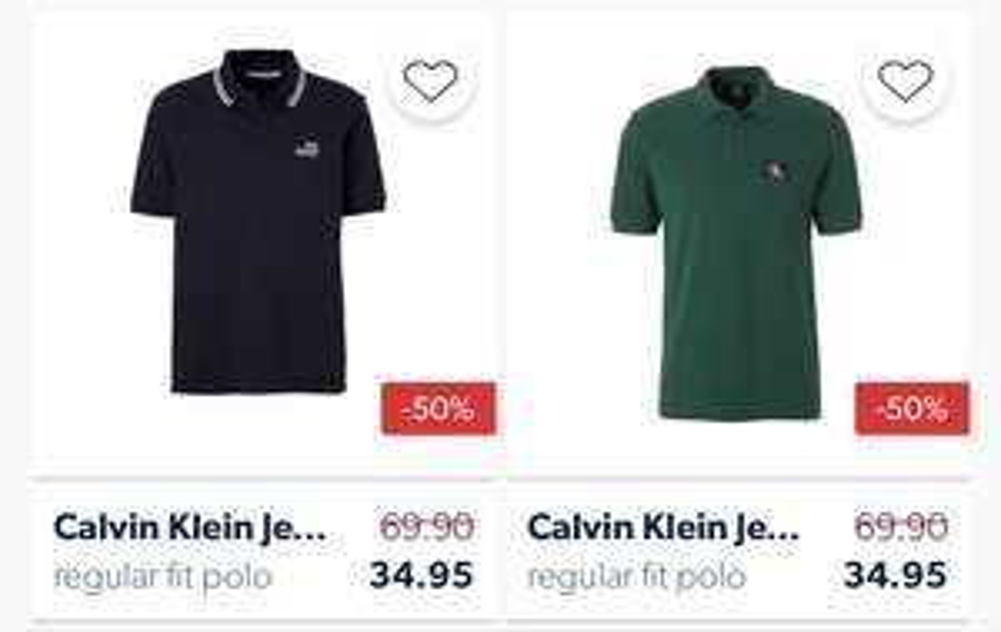 Calvin klein polo's vanaf €34,95 @ Wehkamp