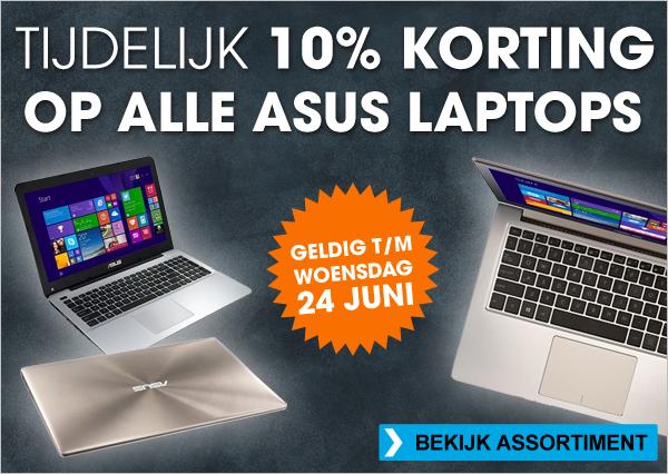 10% + €7,50 korting op alle Asus laptops @ Bobshop