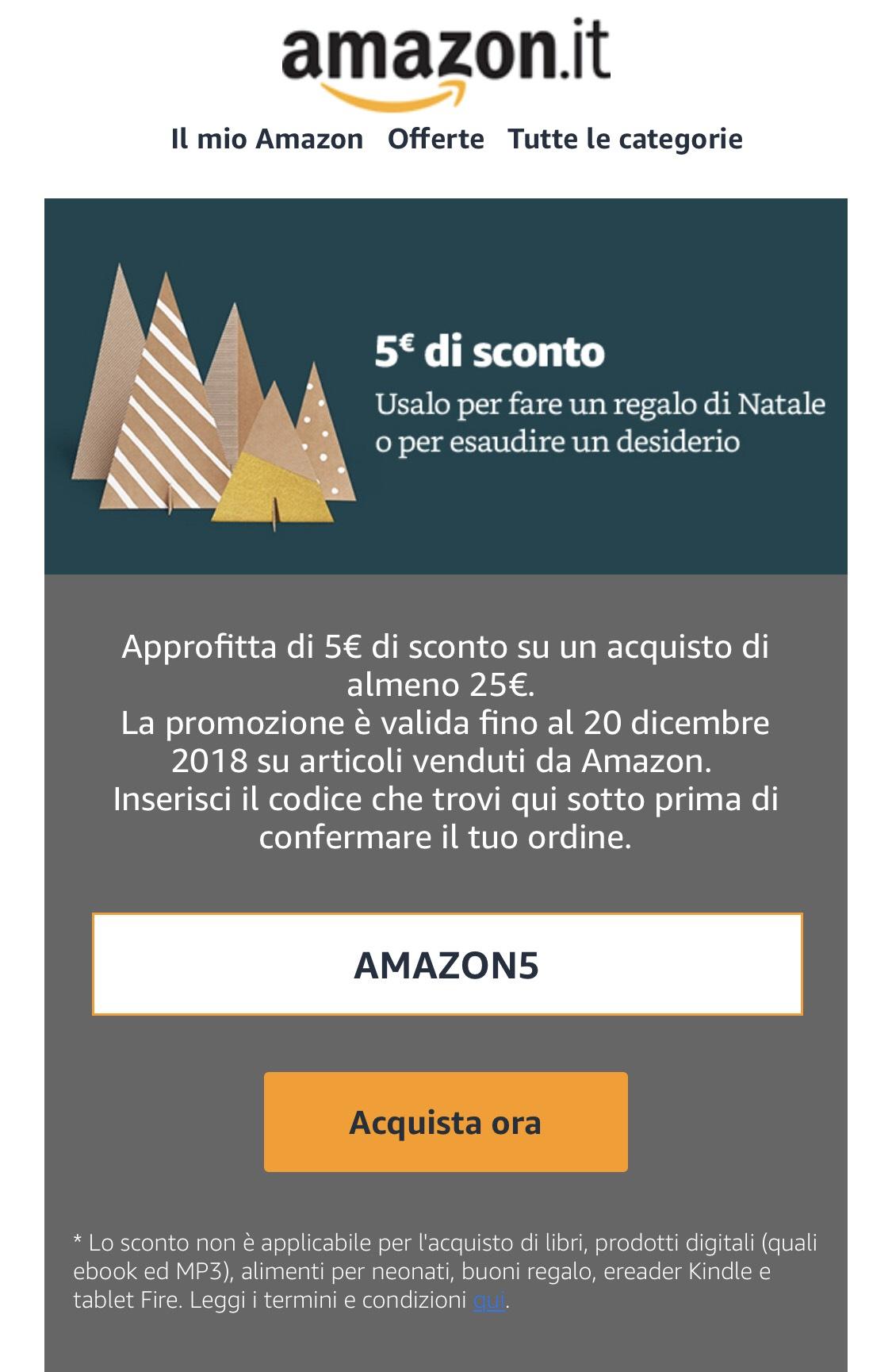 €5,- korting bij Amazon.it bij besteding vanaf €25,-.