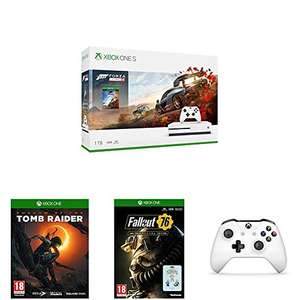 Xbox One S 1TB + 2x Controllers + FH4 + Shadow of the Tomb Raider + Fallout 76 + Gears Of War 4 + Hallo 5 + Rare Replay + PUBG @ Amazon.fr