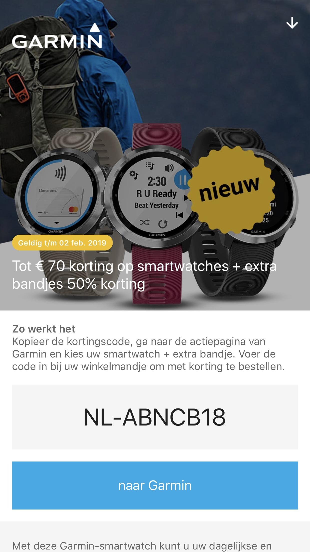 Tot €70 korting op Garmin Smartwatches en 50% korting op extra bandjes