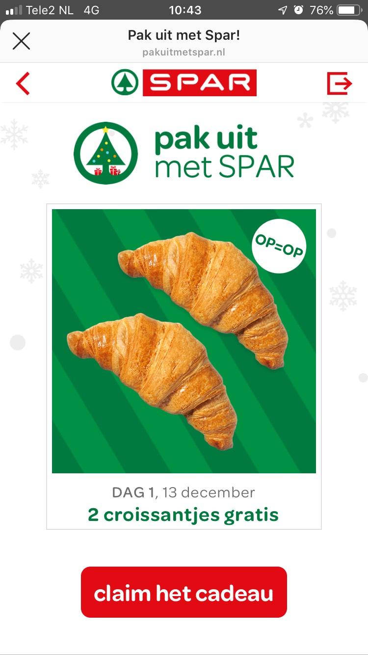 2 gratis croissantjes bij Spar (op= op)