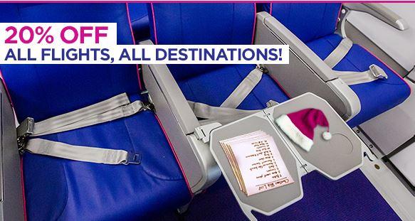 20% korting op alle vluchten van WizzAir. [Alleen vandaag geldig]