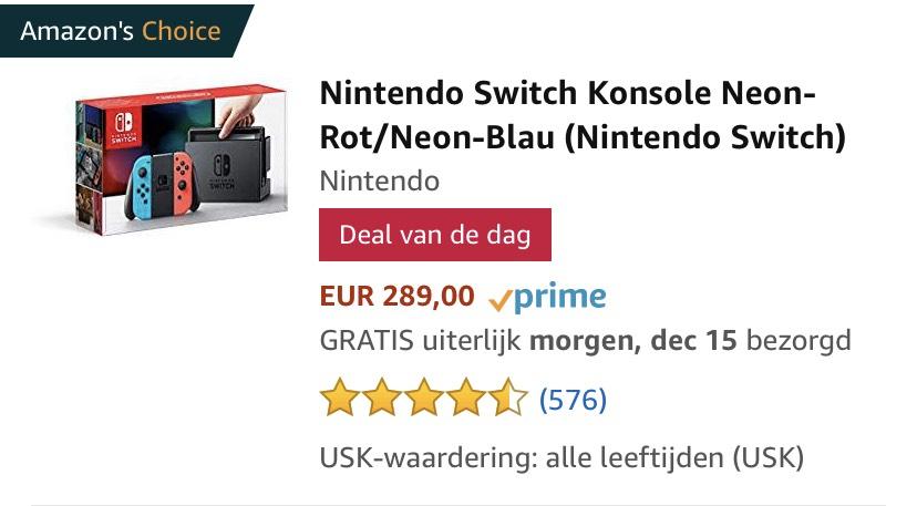 Amazon.de deal van de dag: Nintendo Switch Konsole Neon-Rot/Neon-Blau