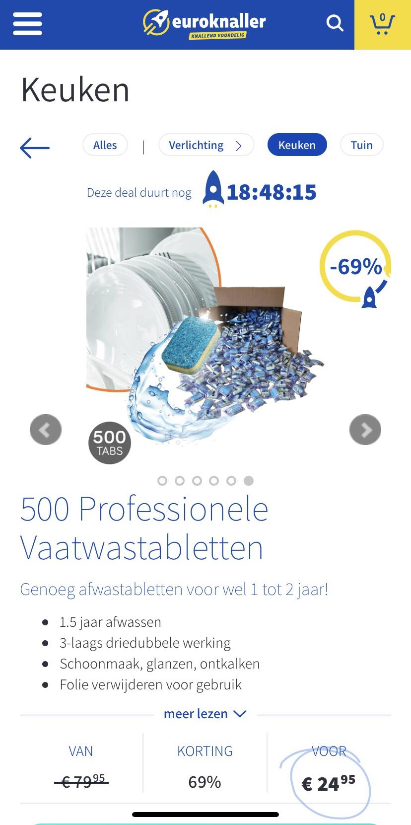 Euroknaller.nl 500 Vaatwastabletten