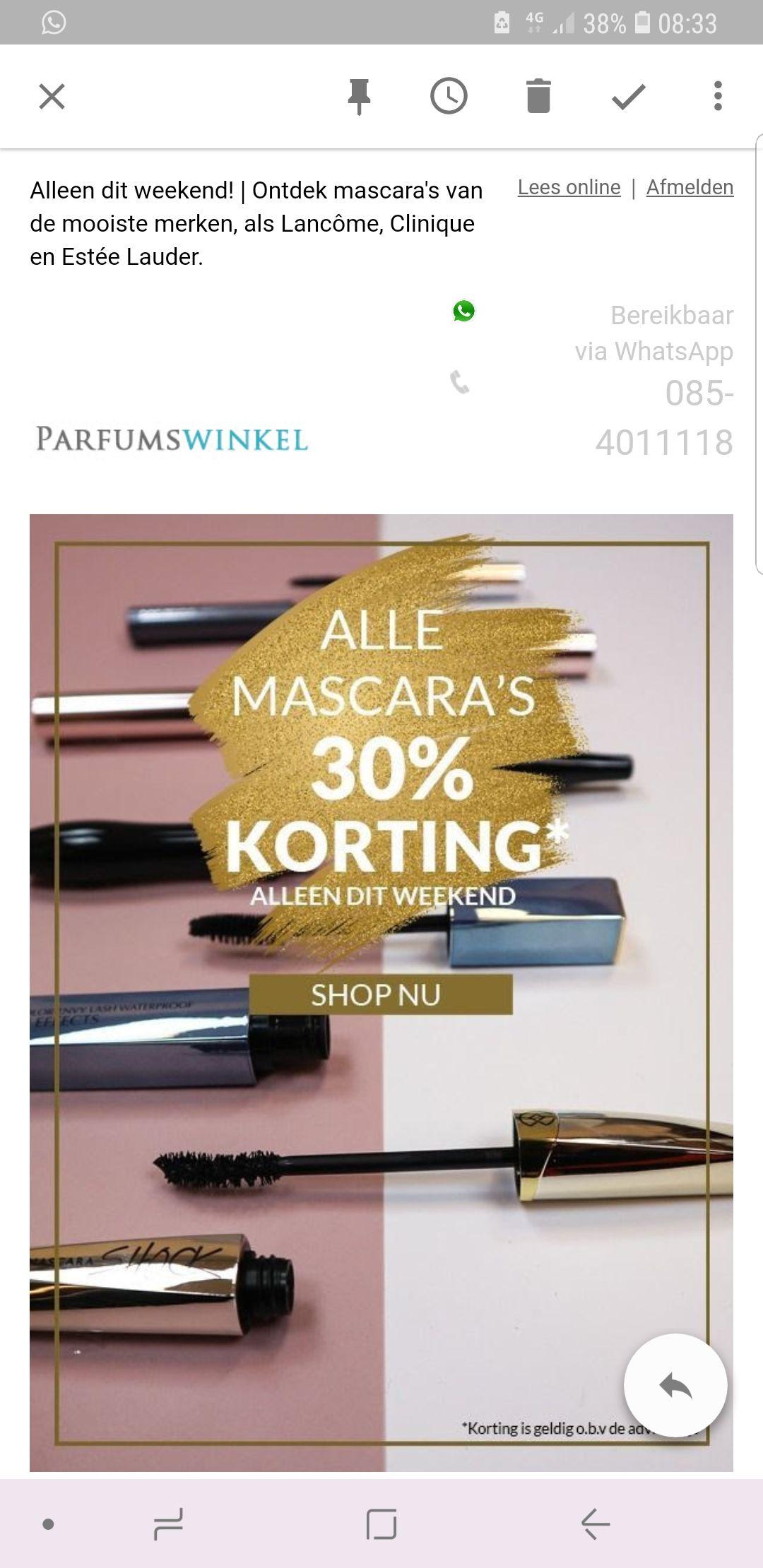 Tot 50% korting op mascara s bij parfumswinkel
