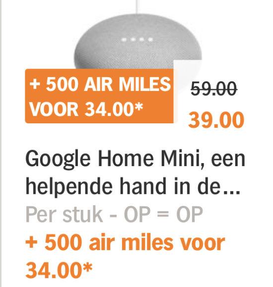 Google Home mini met airmiles voor €34