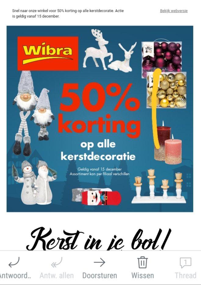 Wibra 50% korting op alle kerstdecoratie vanaf 15-12