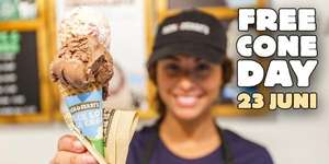 Free cone day bij ben & jerry Amsterdam
