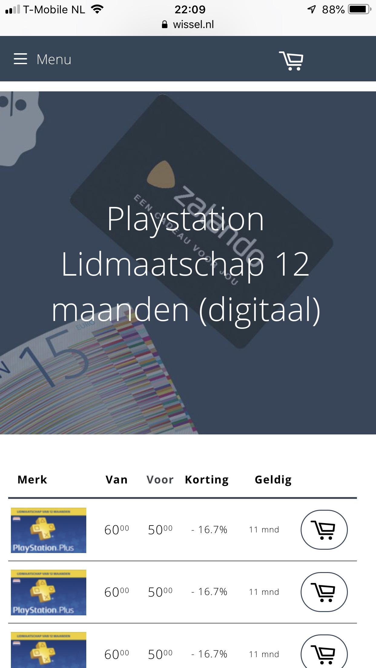 PlayStation plus 12 maanden voor € 50,00 bij www.wissel.nl