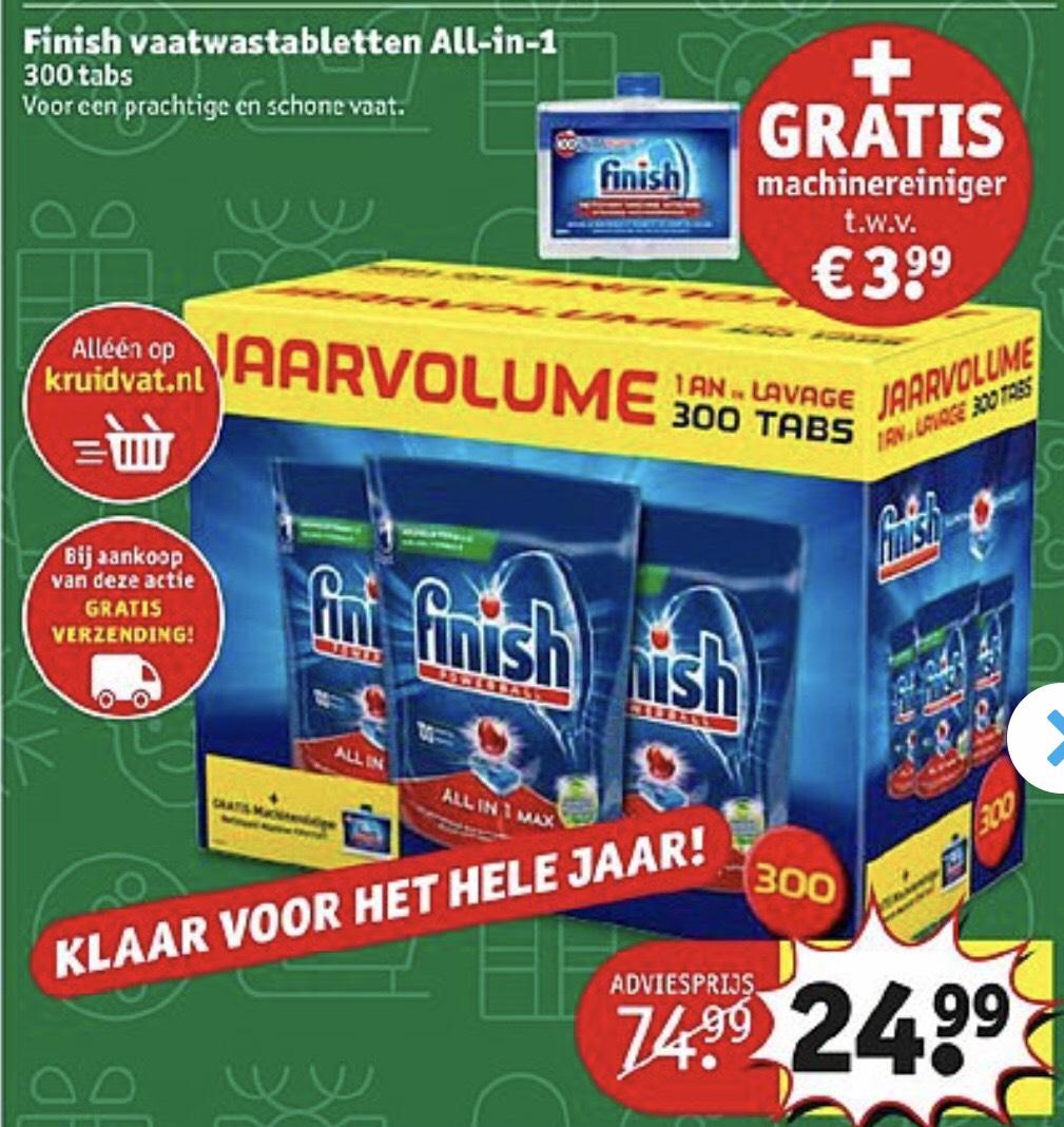 Jaarvoorraad Finish All-in-1 vaatwastabletten met gratis machinereiniger @Kruidvat