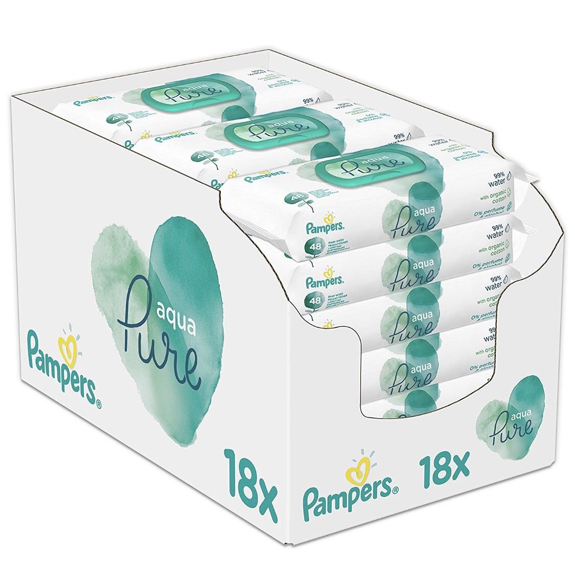 Aqua Pure Pampers doekjes (18x 48 stuks)
