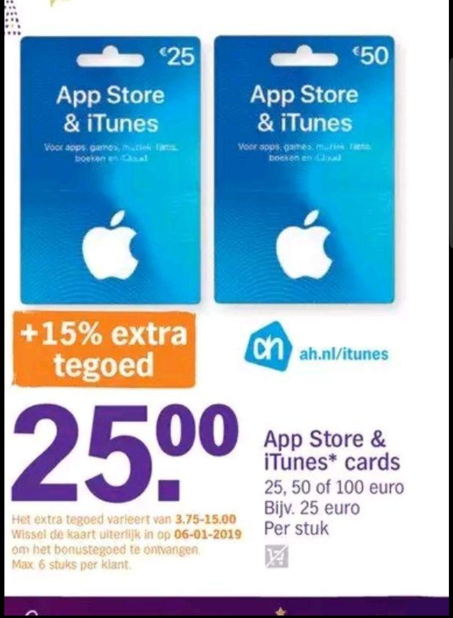 15% extra tegoed Appstore & ITunes kaart bij AH