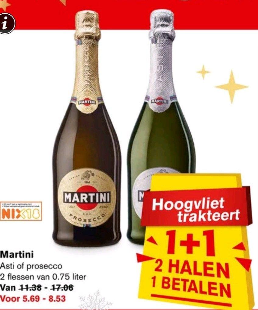 Martini Prosecco of Asti 1+1 gratis @ Hoogvliet