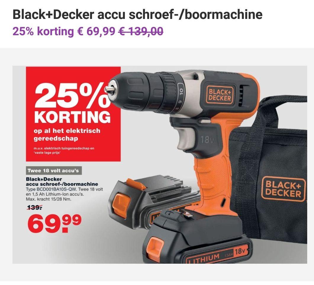 Black+dekker accu boormachine voor de helft.
