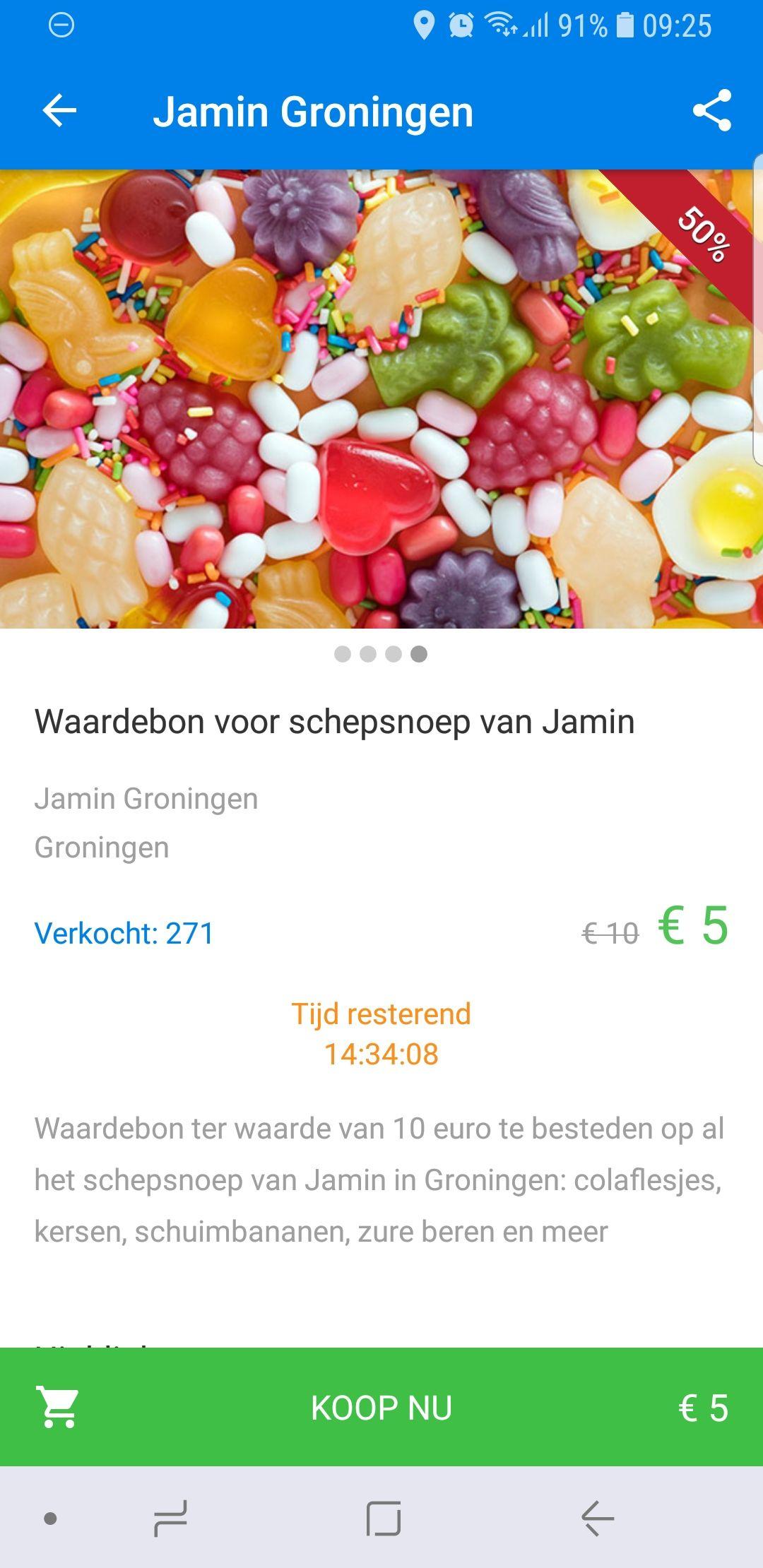 (Lokaal) 10 euro schepsnoep, 5 betalen bij Jamin (socialdeal)