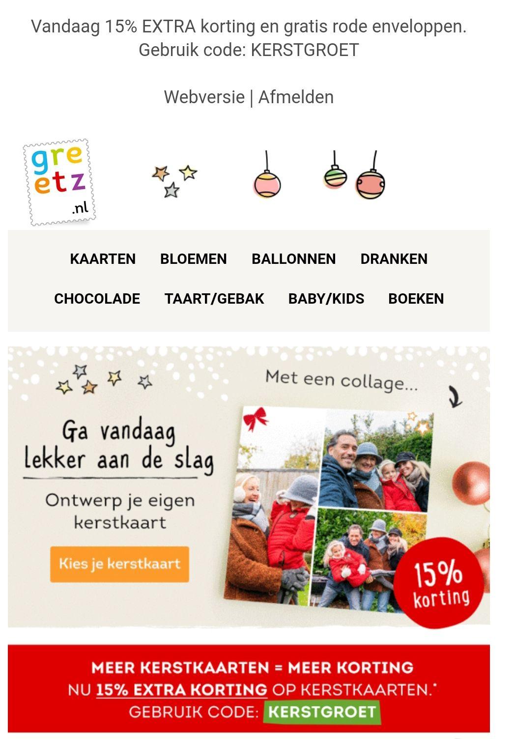 Vandaag 15% EXTRA korting op kerstkaarten en gratis rode enveloppen