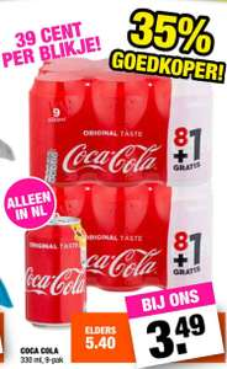 9-pak Coca-Cola voor €3.49 @ Big Bazar (39ct. p.s.)