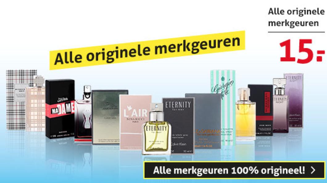 Verschillende merkgeuren voor €15,00