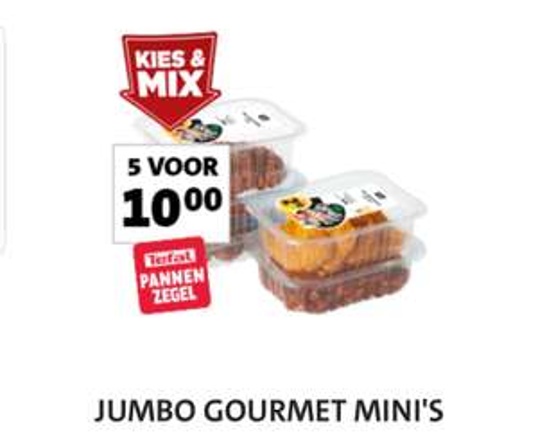 JUMBO GOURMET MINI'S  5 voor 10 euro