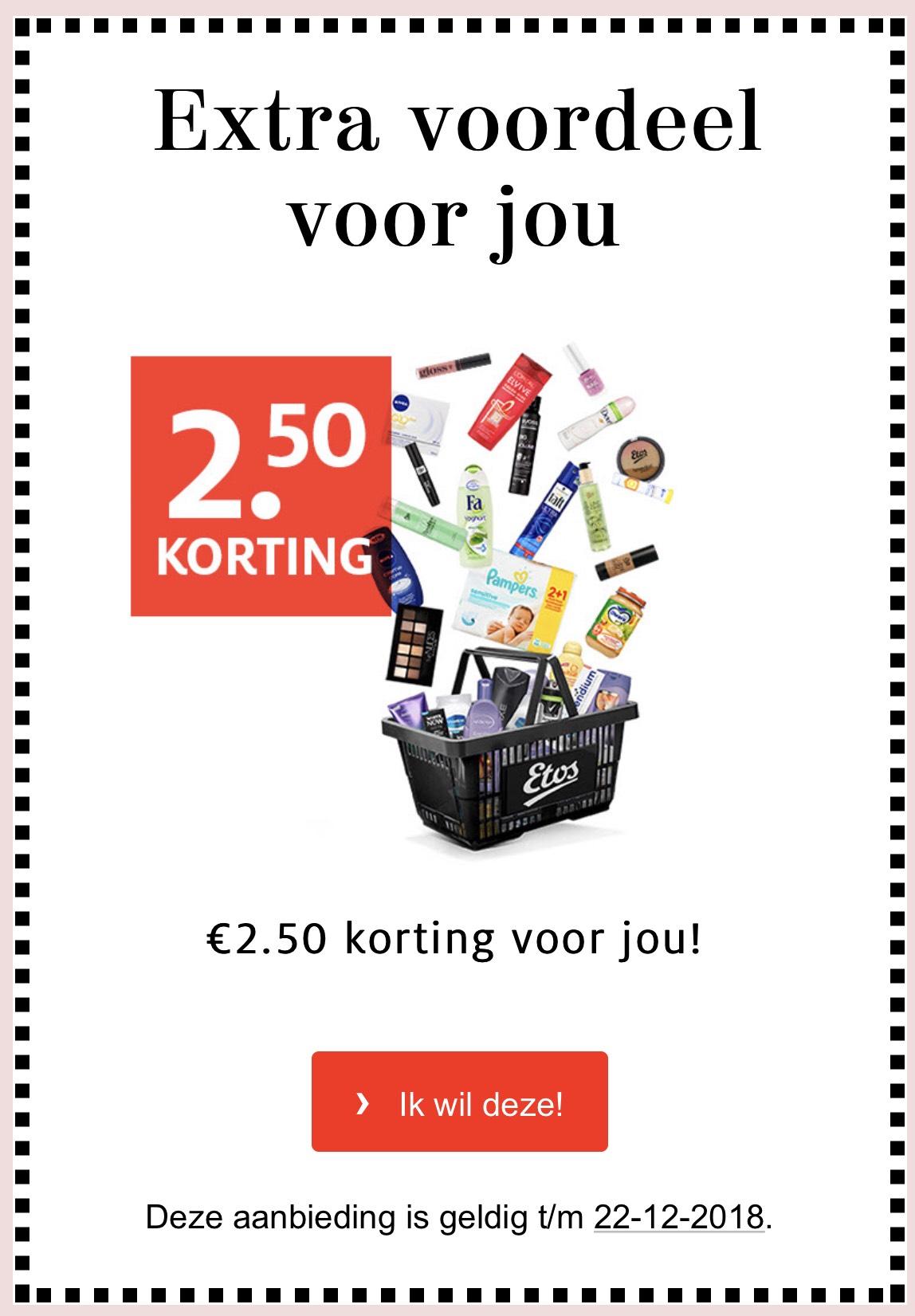 €2,50 korting met de Etos app