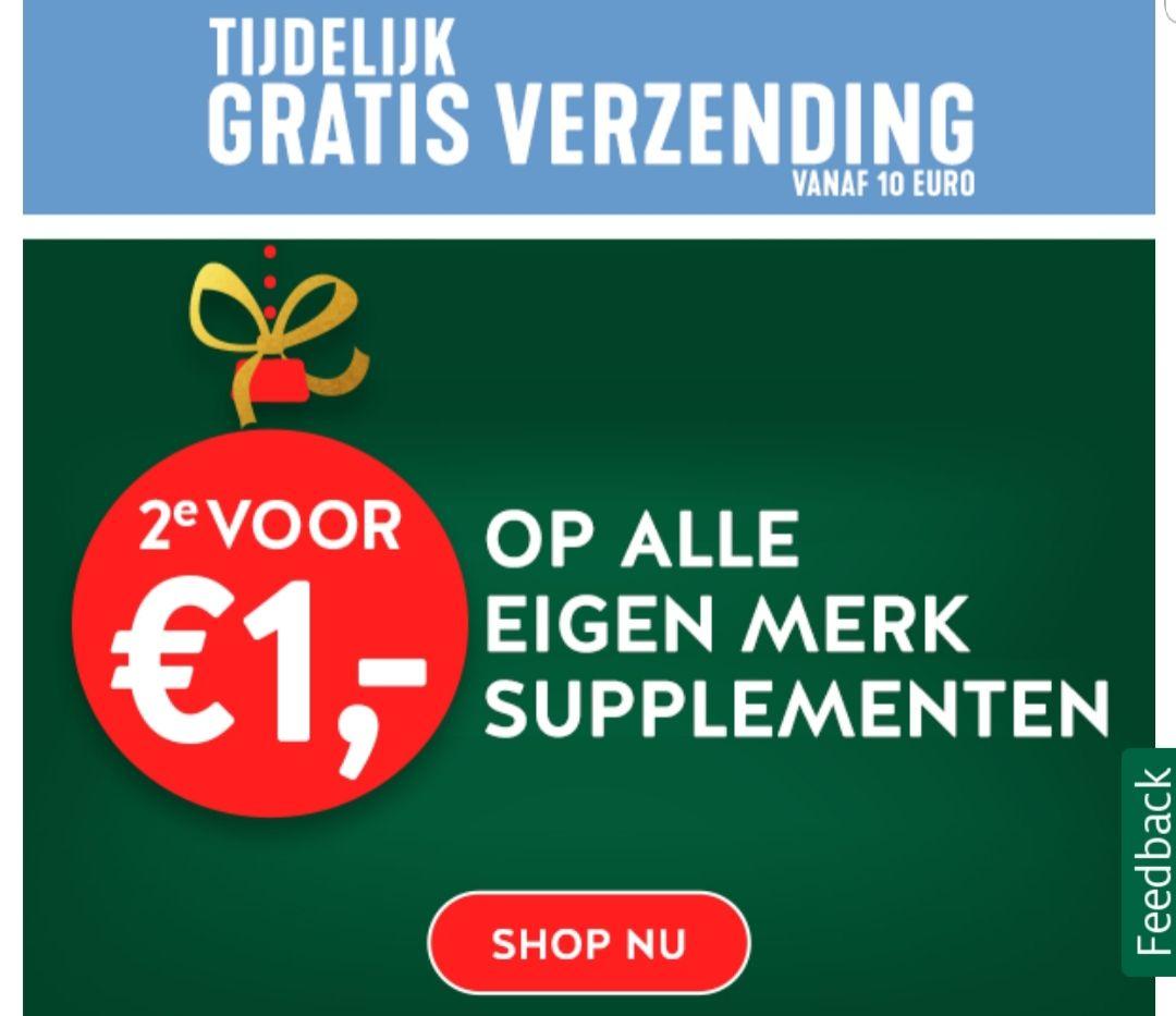 Holland and Barret 2e voor €1 op alle eigen merk supplementen. Inclusief gratis verzending.