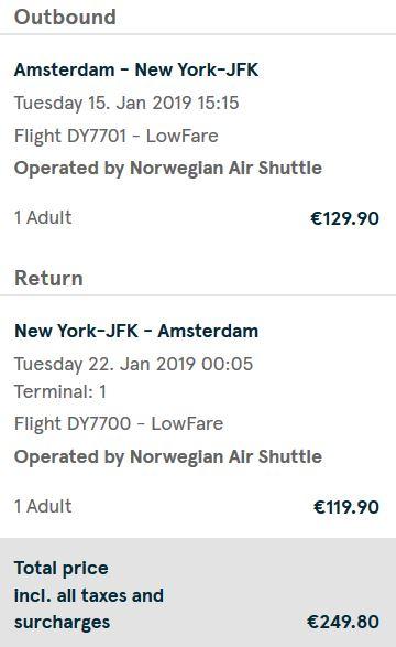 Vliegretour Amsterdam - New York-JFK