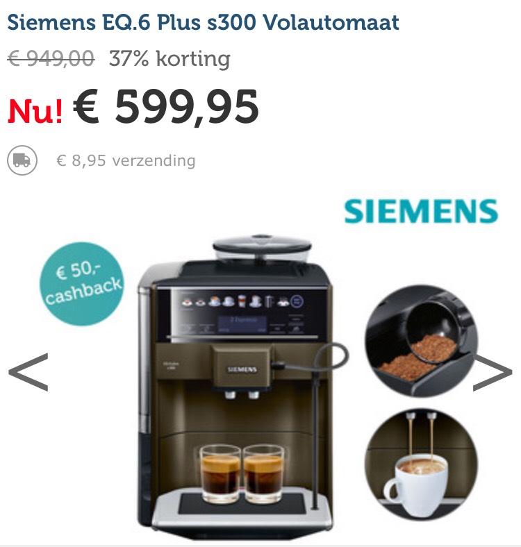 €557,95 na cashback Siemens EQ6 plus S300 volautomaat koffiemachine bij Ibood
