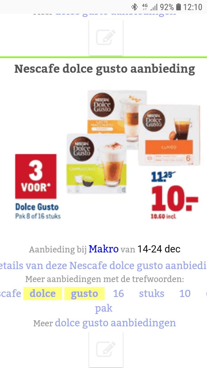 Dolce gusto capsules 3 voor €10,60 bij Makro