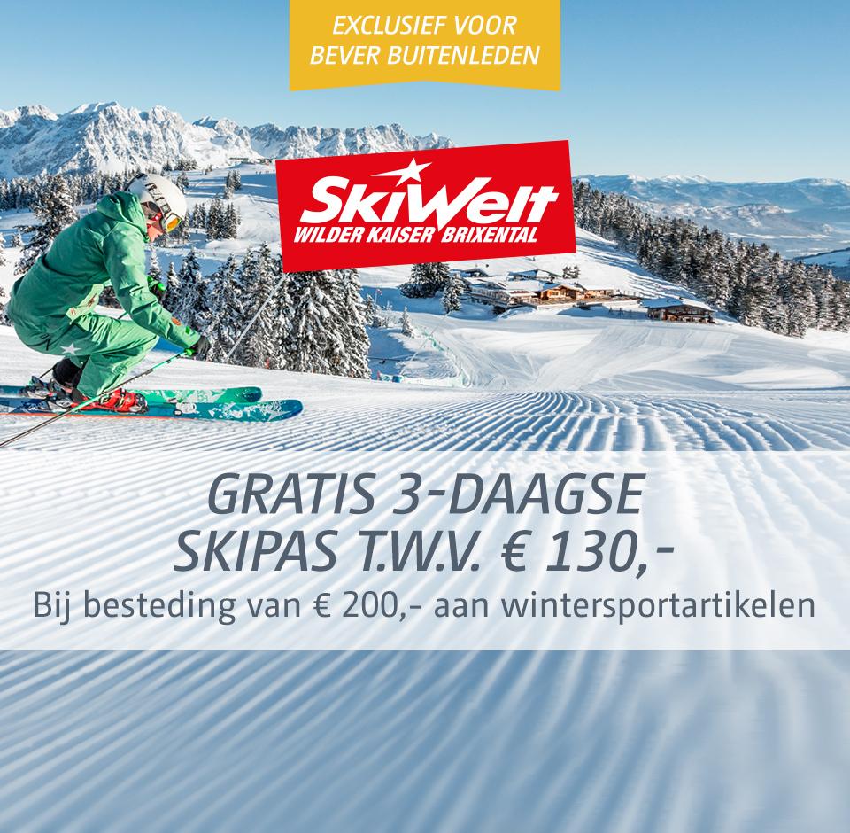 Gratis 3 daagse skipas voor Skiwelt Wilder Kaiser-Brixental t.w.v. €130 bij €200 wintersportartikelen @Bever + €10 korting + 7% Cashback