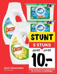 5 Flessen Dash wasmiddel of dozen pods €10 @ Vomar