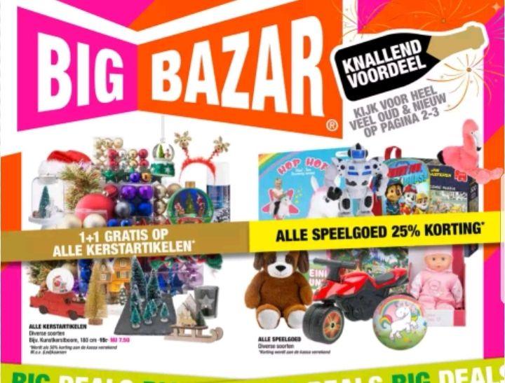 @Big Bazar, 1+1 op kerst artikelen & 25% op speelgoed; extra korting 24 dec- 31dec