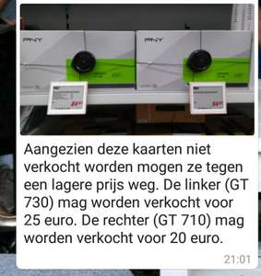 PNY Geforce GT 710 €20,- en PNY Geforce GT 730 €25,-