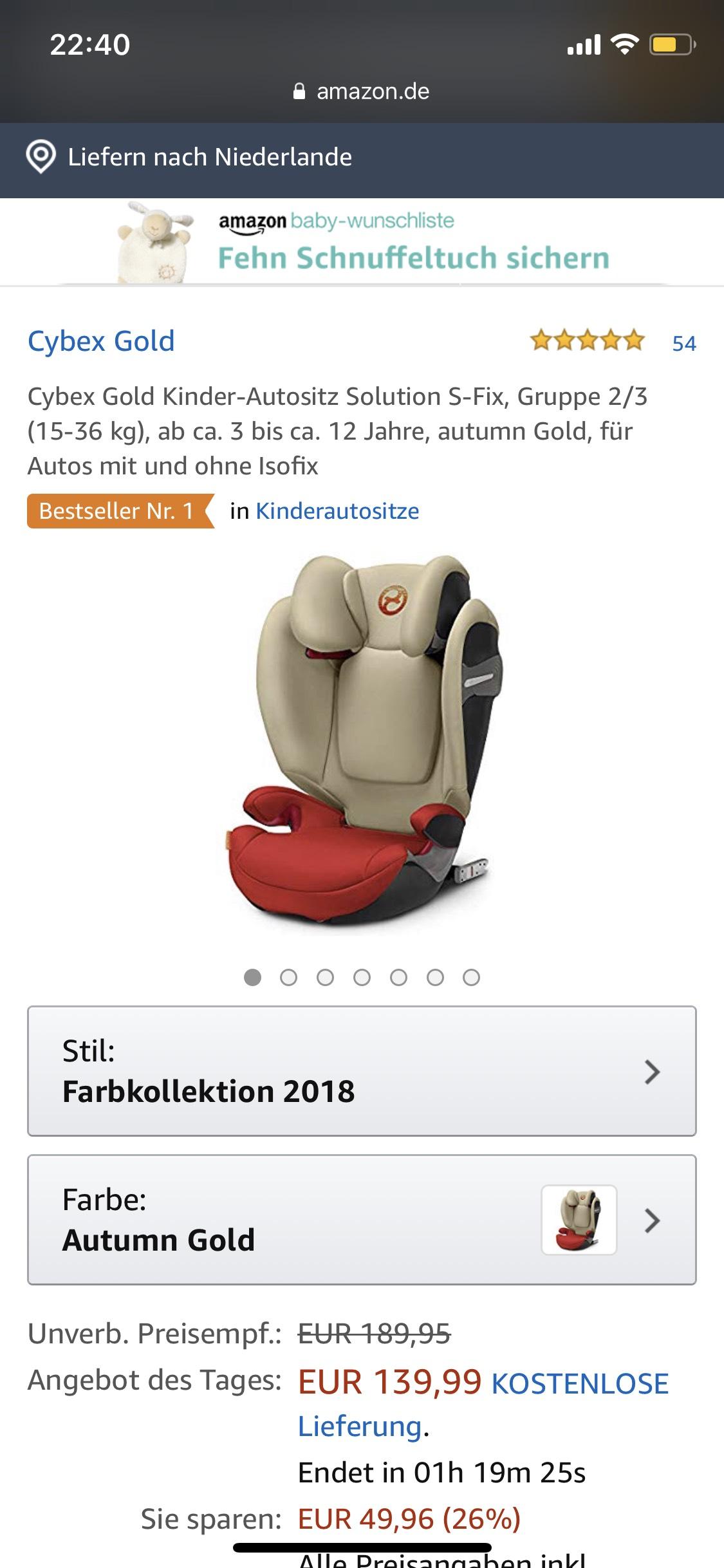 [Autostoel] Cybex Gold Solution S-Fix, 15-36kg (2018)