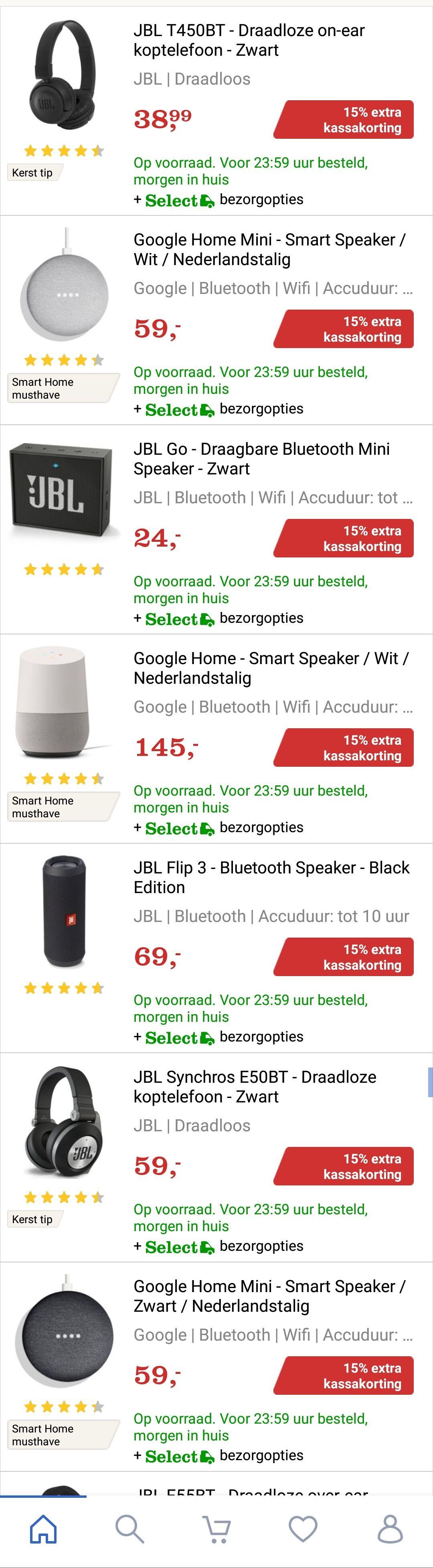 Dagdeal bol.com: 15% korting op Audio & HIFI (Speakers & koptelefoons) oa JBL, Harman Kardon & Google Home.